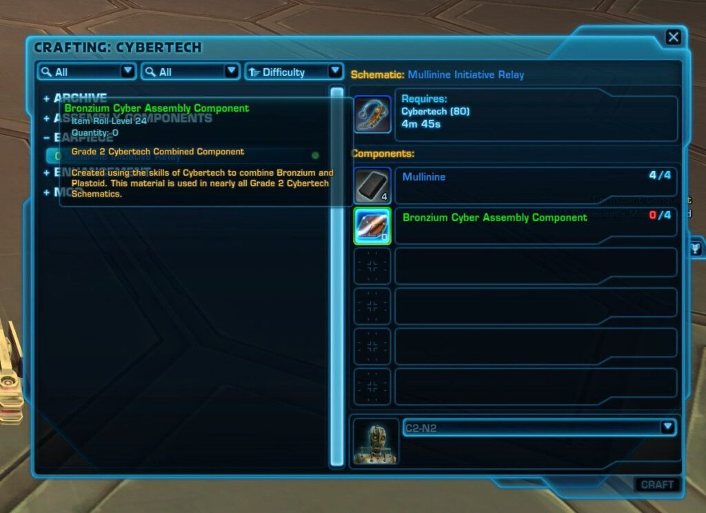 SWTOR: Crafting Under KotFE Requires Skill-specific Components
