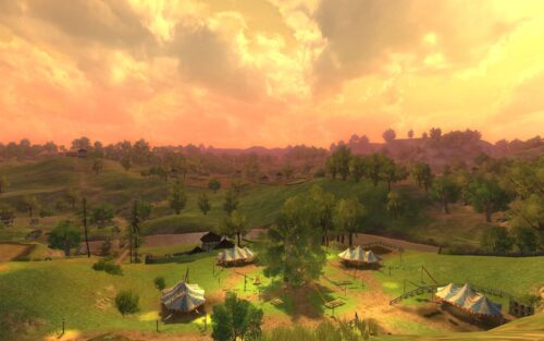 Sunset over the Shire in LOTRO
