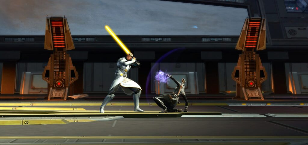 You Stop Arcann's Lightsaber with your hand during the Battle of Odessan