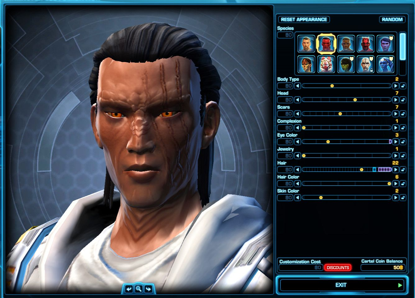 Slow Levelling in SWTOR: Character Appearance Settings to recreate this Pureblooded Sith