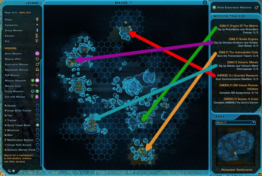 SWTOR Makeb GSI Missions Map