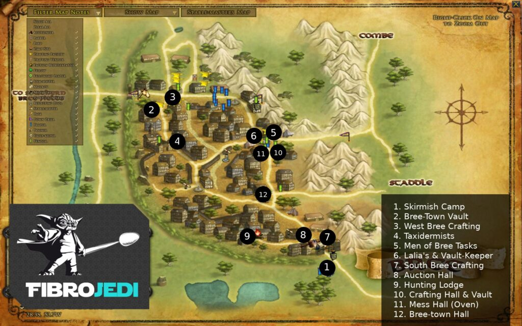 LOTRO Map of Bree with Locations of Vendors, Crafting Facilities and Other Points of Interest