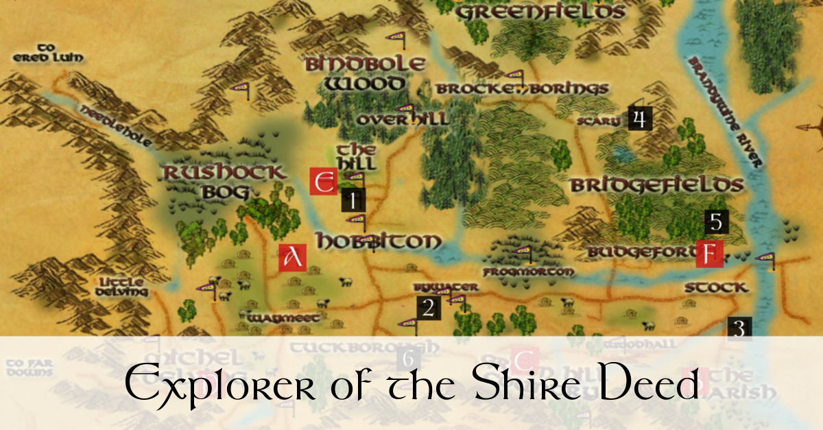 Explorer Of The Shire Deed Farms Sights Of The Shire Map Lotro