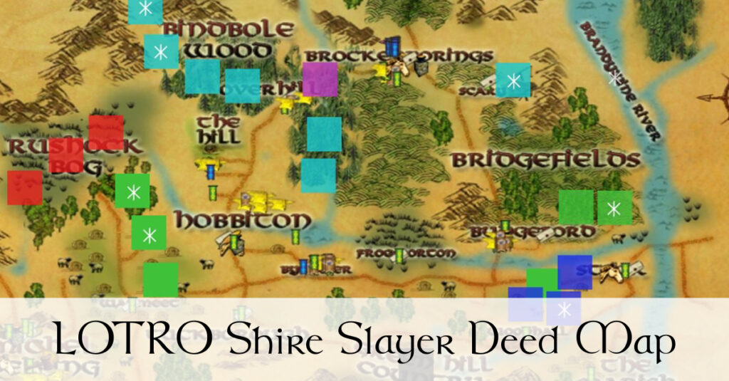 LOTRO Shire Slayer Deed Map - Spiders, Wolves, Brigands, Slugs, Goblins and Harvest Flies