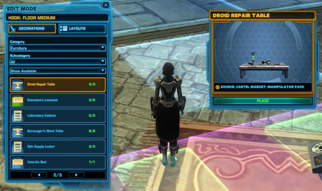 All SWTOR decorations are kept in a Strongholds Stash outside of your inventory and storage