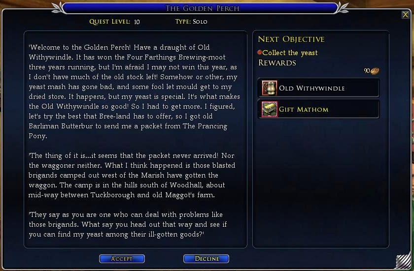 The Golden Perch Quest for the Shire Brew-Master Deed