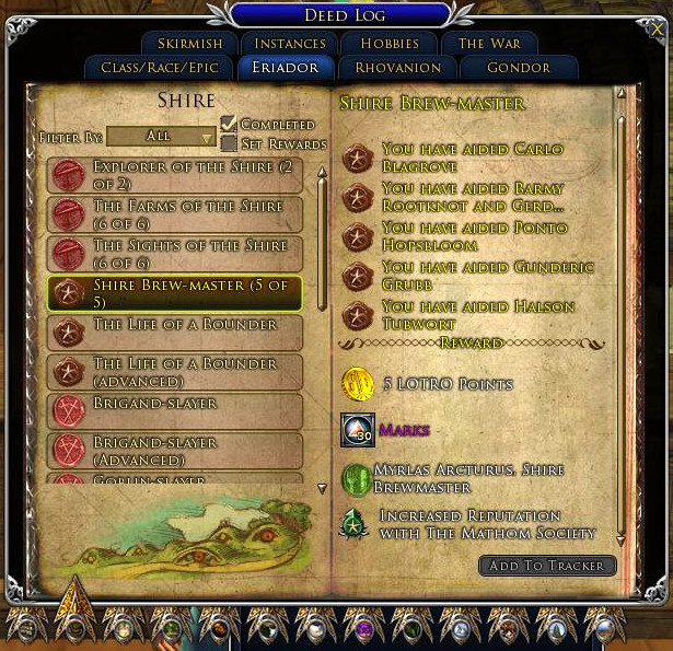 Completed Shire Brew-Master Deed Log