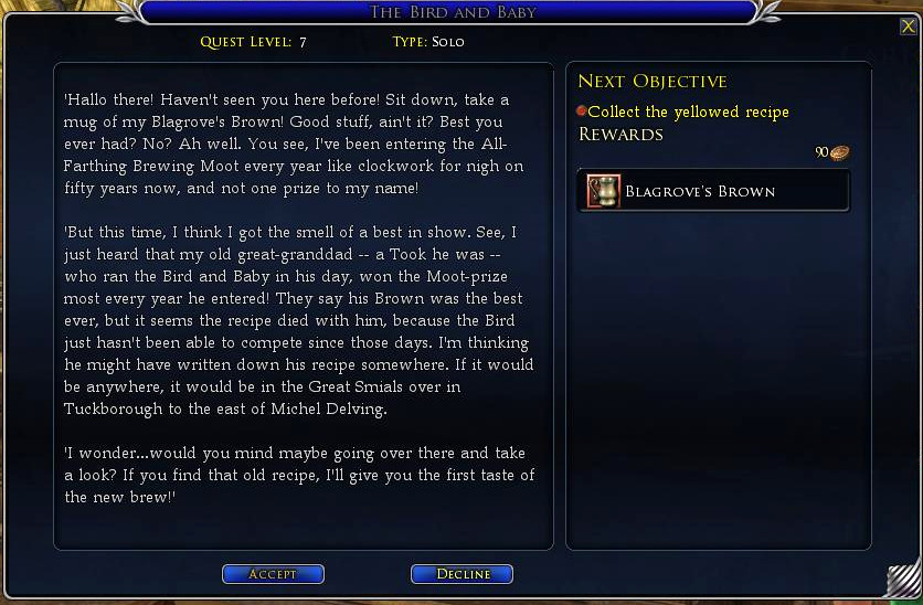 Quest Giver Dialogue with the Bird and Baby in for Shire Brew-Master Deed in LOTRO