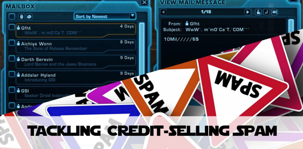 Credit-Selling Mail Spam in SWTOR – What Should Be Done About It?