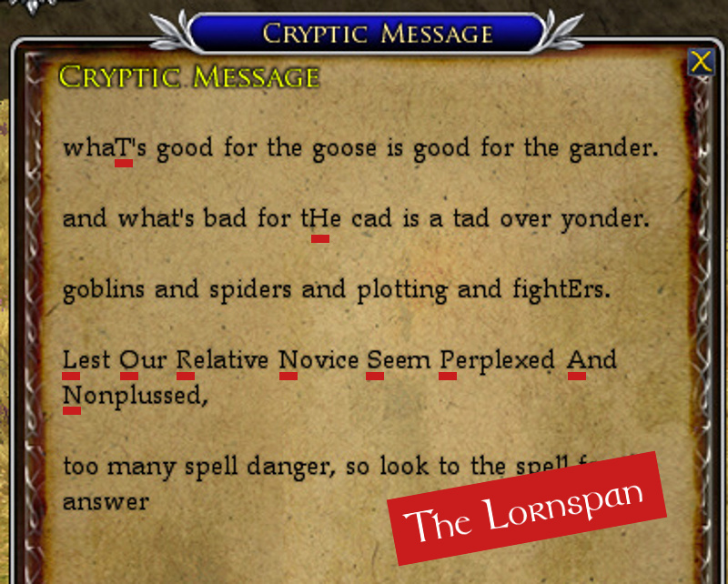 Goose and Gander Cryptic Message Solution: The Lornspan