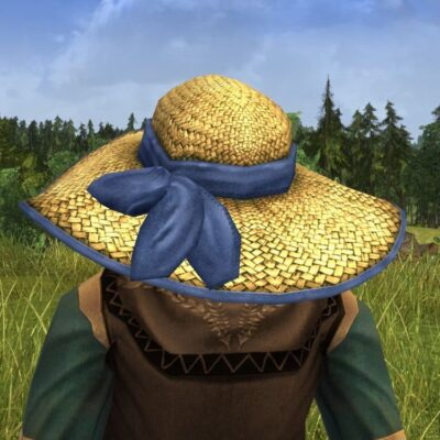Straw Sun Hat with Ribbon Cosmetic