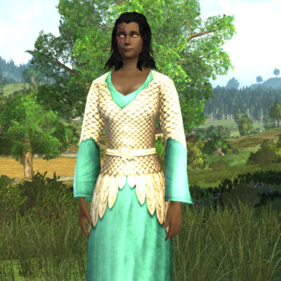 Autumn Leafmail Dress Cosmetic (Turquoise Dye) - LOTRO