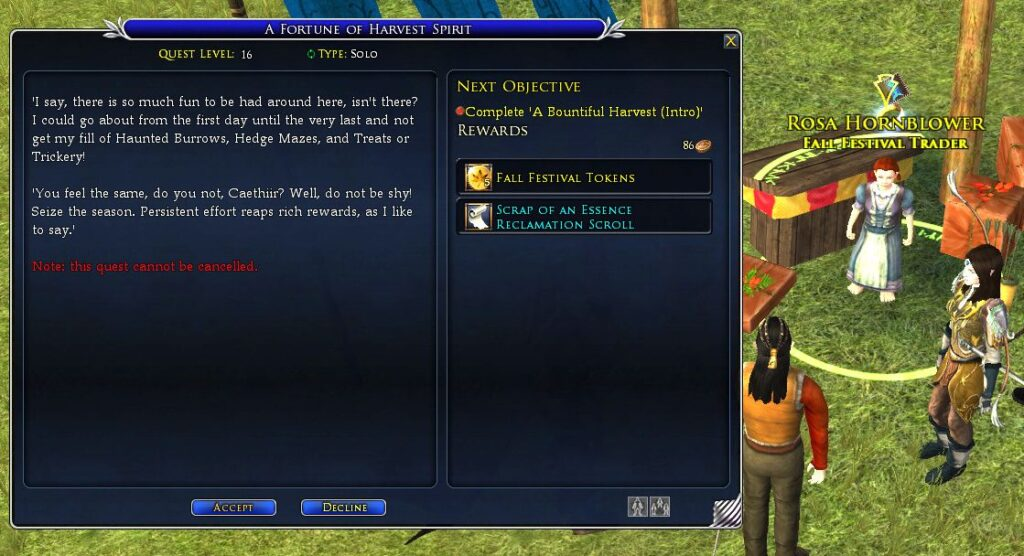 Harvest Festival Daily Quests (e.g. A Fortune of Harvest Spirit) pick up from Rosa Hornblower