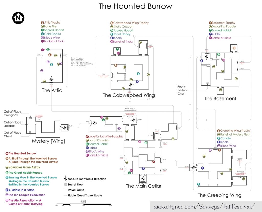 Map of the Haunted Burrow at LOTRO's Fall or Harvestmath Festival