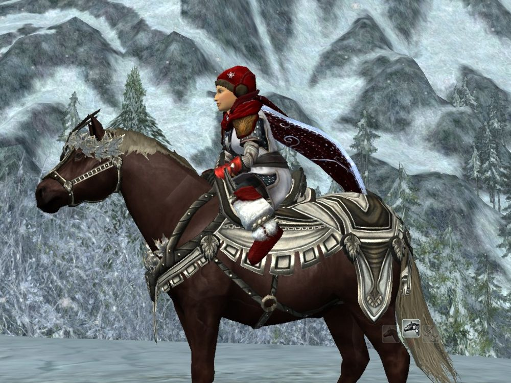 The side view of LOTRO's Ice Flower Steed