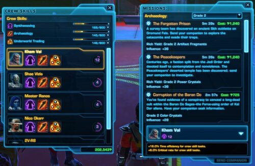 You can use Crew Skills in SWTOR to Increase Companion Influence