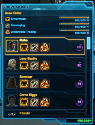 The Crew Skills Panel in SWTOR also shows your companions ordered by highest to lowest influence