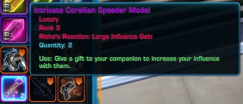 Example of a Corellian Speeder Model giving a Large Influence Gain