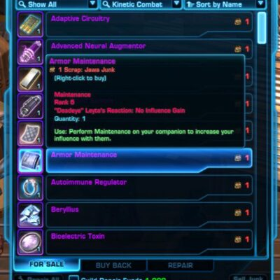 Trade Jawa Junk for Armor Maintenance (for Droid Companions)