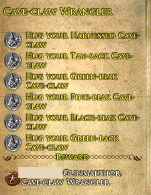 Cave-claw Wrangler Deed for the title. Available during the Buried Treasure Event in LOTRO