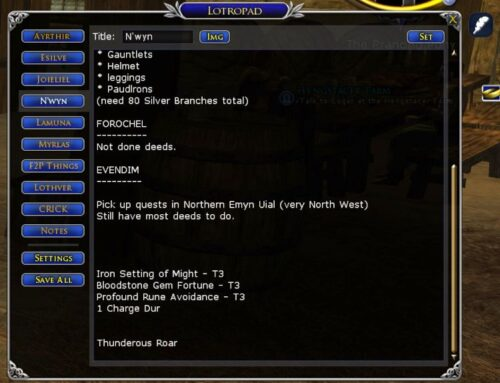 LOTRO Pad is an in-game notepad plugin