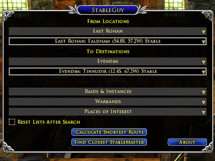 Stable Guy LOTRO Plugin - Choose from and to locations