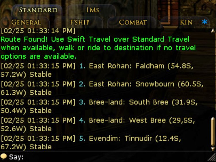 Stable Guy posts your directions to chat in the Standard channel