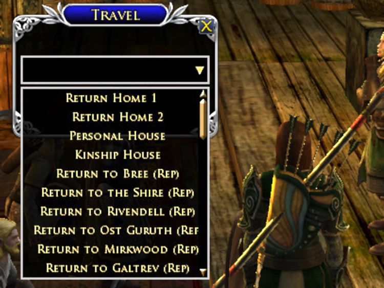 Travel Window LOTRO Plugin displayed as a drop-down list