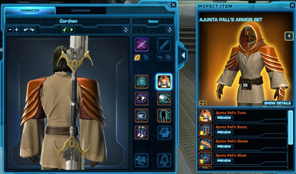Rotate your SWTOR character to see the outfit or gear from behind
