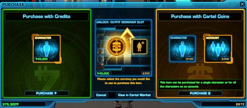 Unlock extra outfit slots with credits or SWTOR Cartel Coins