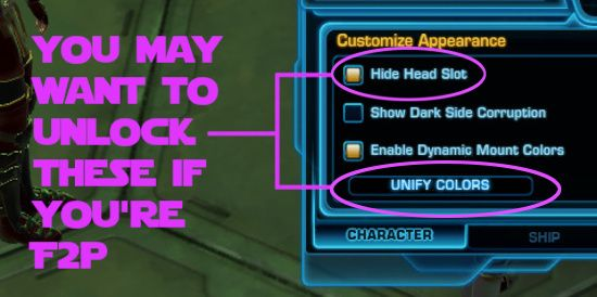 You can unlock Unify Colors and Hide head slot for use in the character panel
