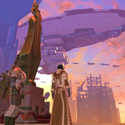Republic Capital world of Coruscant, with ships in the air