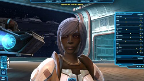 SWTOR's Detailed Character Creation to customise your look - in this case an older female Cyborg