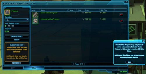 SWTOR Free-to-Play Players can only sell 2 items at once on GTN