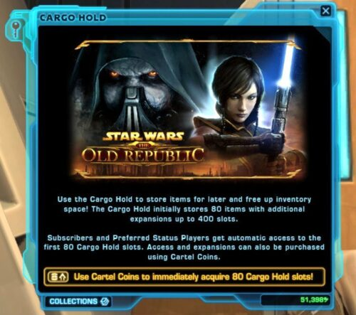 No Cargo Hold or Ship Locker until you have 80 Cartel Coins in SWTOR