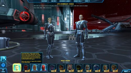 SWTOR Free-to-Play character creator - Empire - you can choose from 3 species