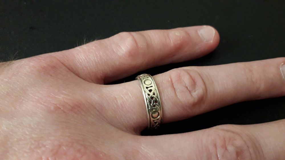 My Celtic Knot Wedding Ring finally back on my finger, where it belongs!