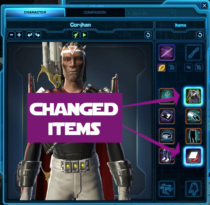 Changed items are highlighted in the preview window in SWTOR