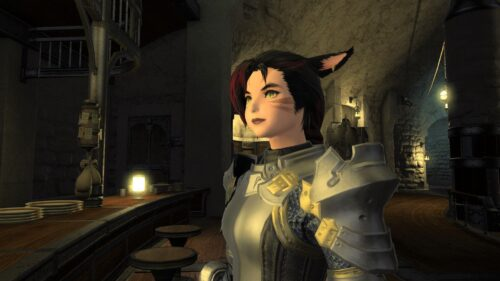 My FFXIV Miqo'te in heavy plate armour