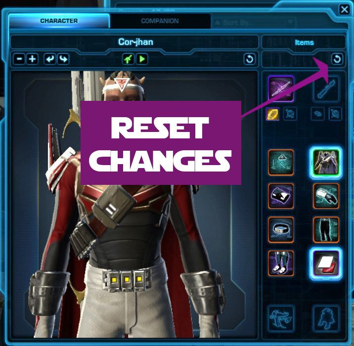 Reset all changes you've made to the gear preview window