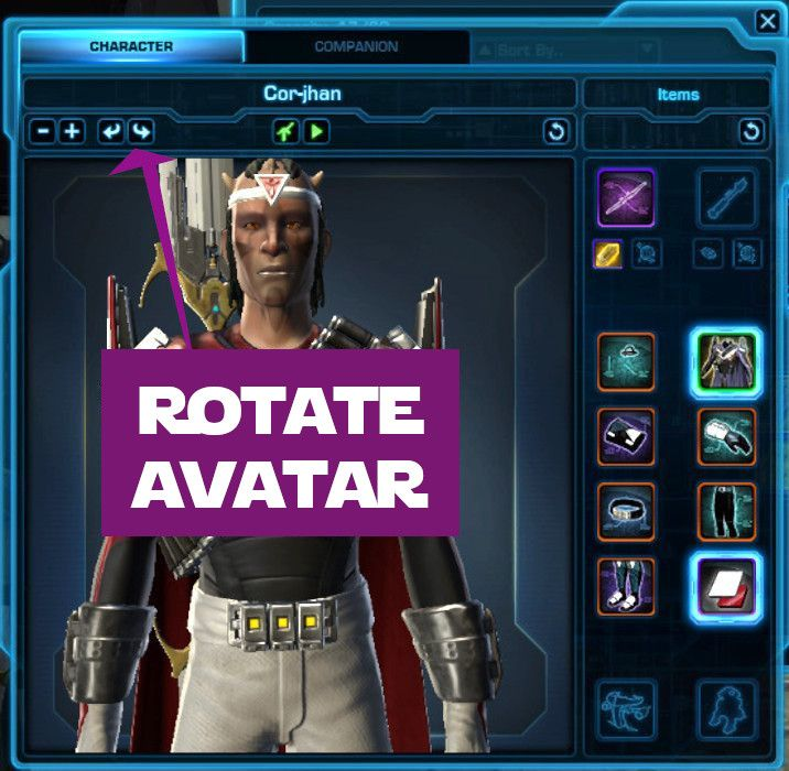 Rotate your character's avatar with these arrows