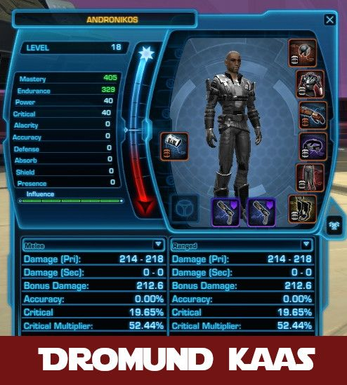 SWTOR Companion level sync - here stats are reduced for Dromund Kaas