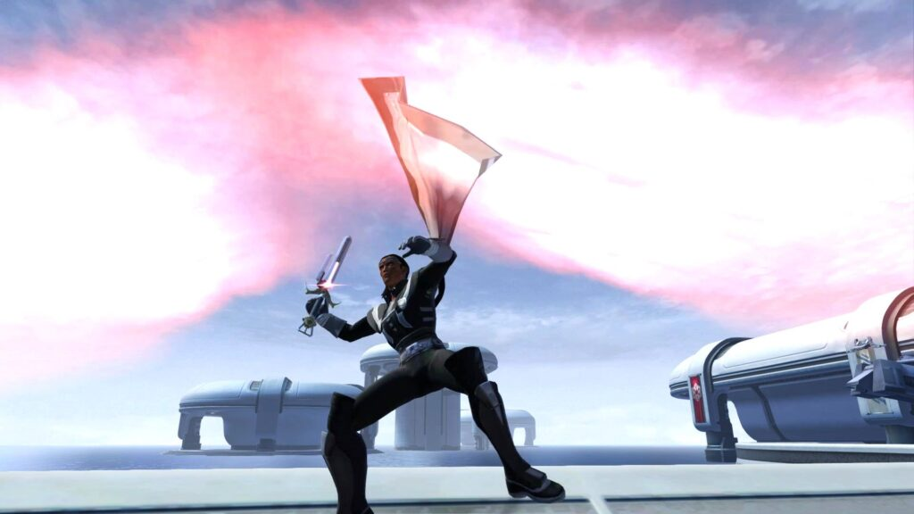 The full Sith Warrior outfit, mid-swing!