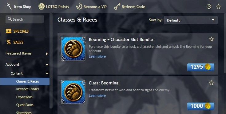 How to buy the Beorning class from the LOTRO Store