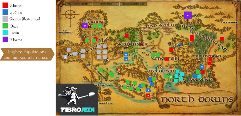 LOTRO North Downs Slayer Deed Map