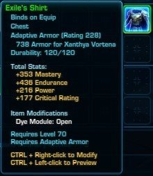 Exile's Shirt from Ossus is an alternative to Conquered Exarch's Meditation Robe in SWTOR