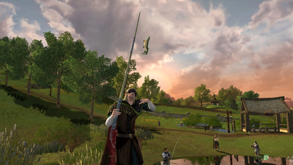 My FibroJedi Character fishing in LOTRO at the Farmer's Faire