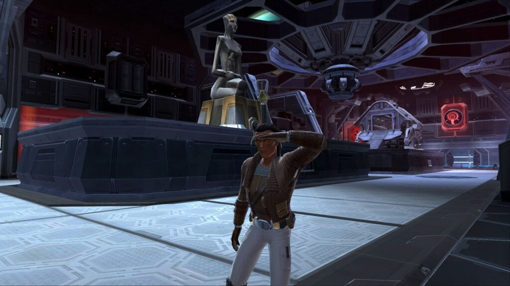 My Highest Level Warrior looking around Imperial Fleet Ships in SWTOR