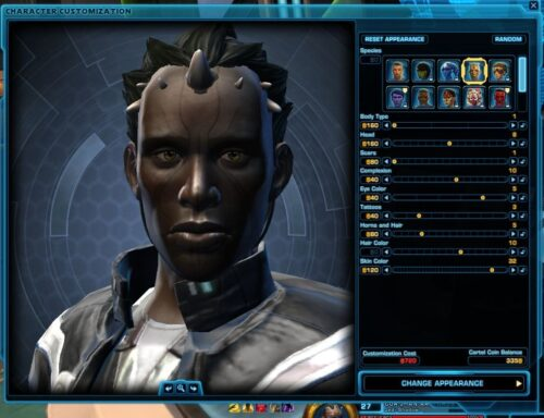 Example of options for customising your character's appearance