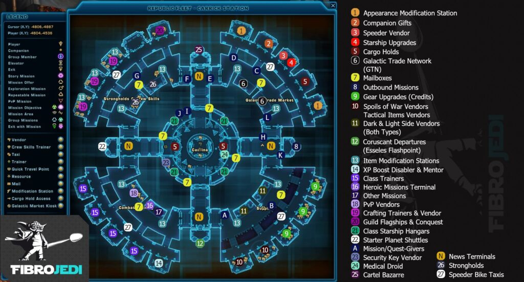 New SWTOR Republic Fleet Map of Carrick Station, updated for 6.0!